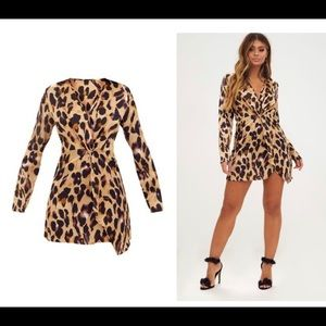 PRETTYLITTLETHING | leopard print wrap dress 4